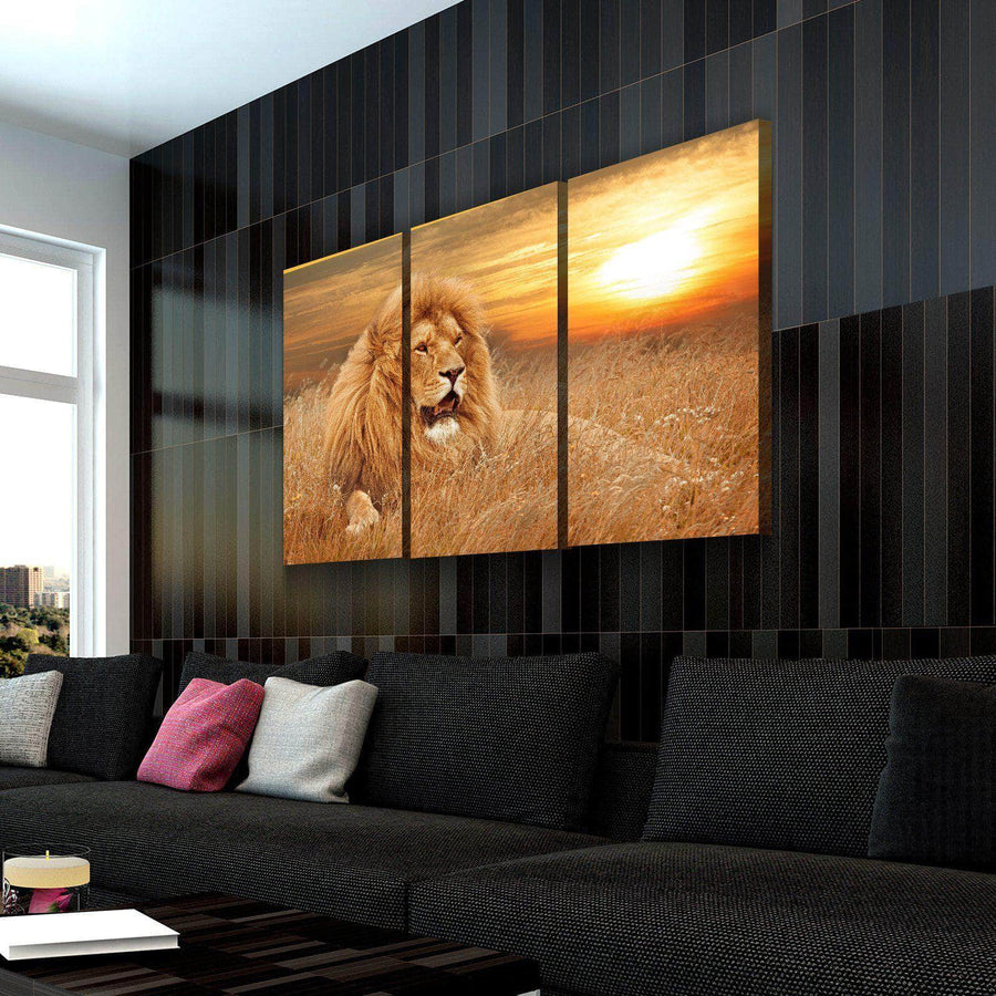 Gazing Lion Canvas Set