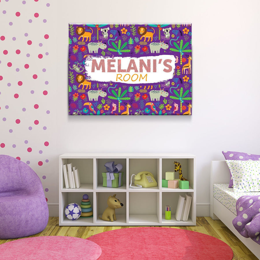 Custom Personalized Girl's Jungle Room Canvas Set