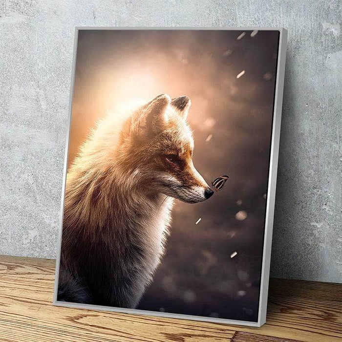 Glowing Fox And Butterfly Canvas Set Canvas Freaks