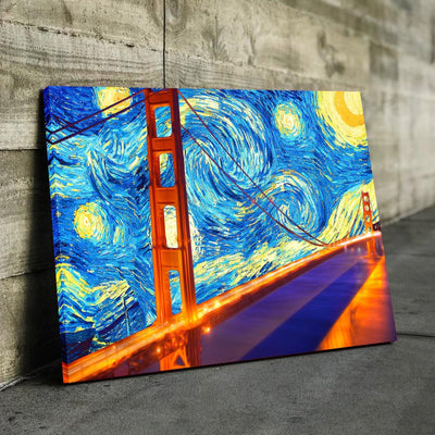 Golden Gate Starry Night Canvas Set