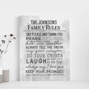Family Rules Custom Canvas Set