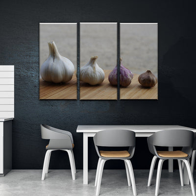 Growing Garlic Kitchen and Dining Room Wall Decor Canvas Set