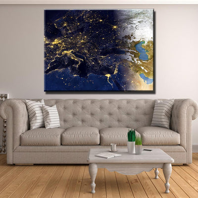 Futuristic European Map Canvas Set