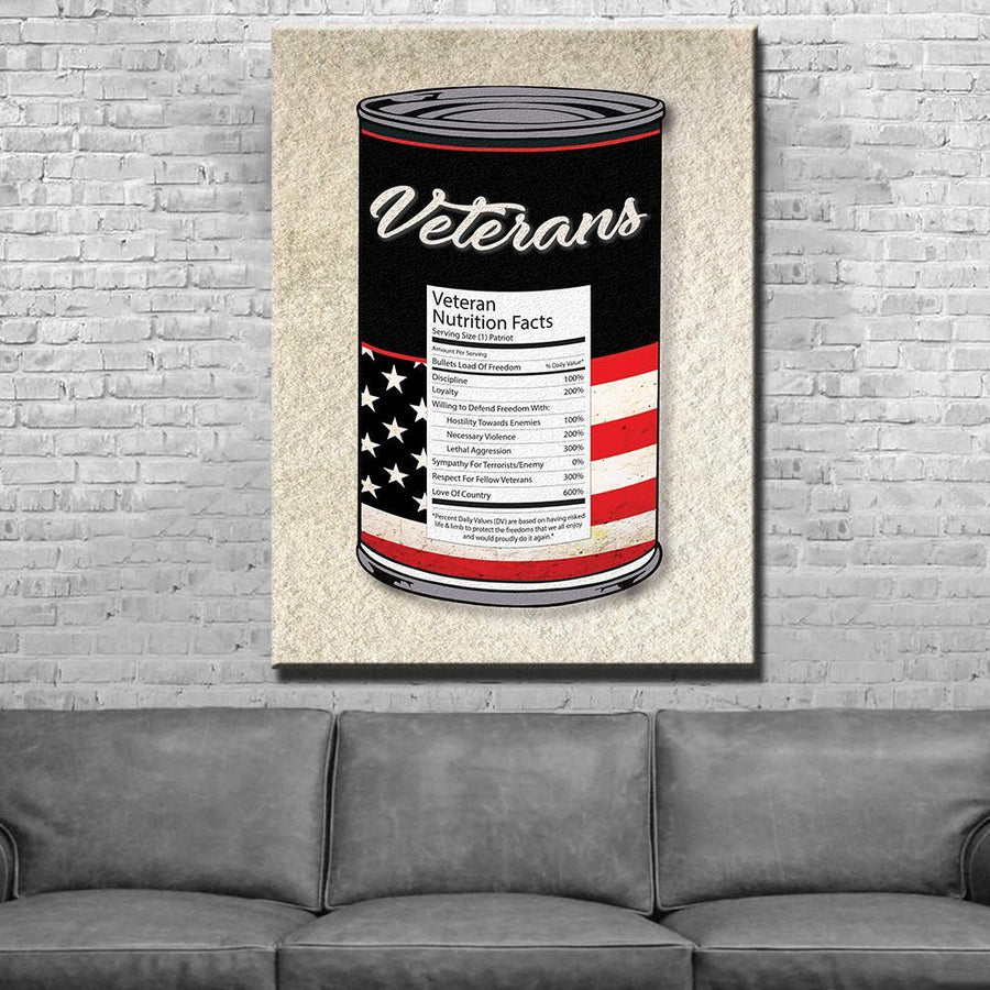 Veterans Can Nutrition Facts Canvas Set