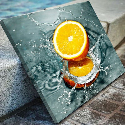 Orange in the Water Kitchen and Dining Room Wall Decor Canvas Set ...