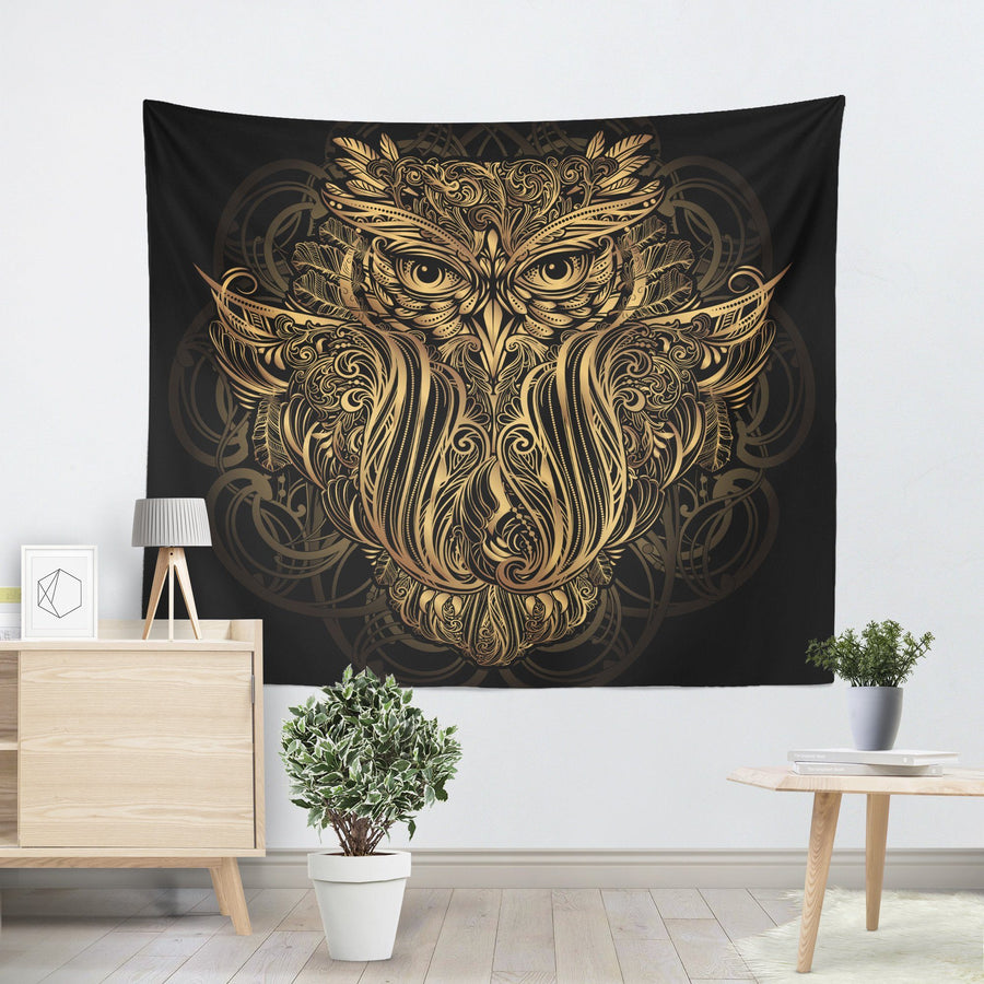 Gold Owl Tapestry