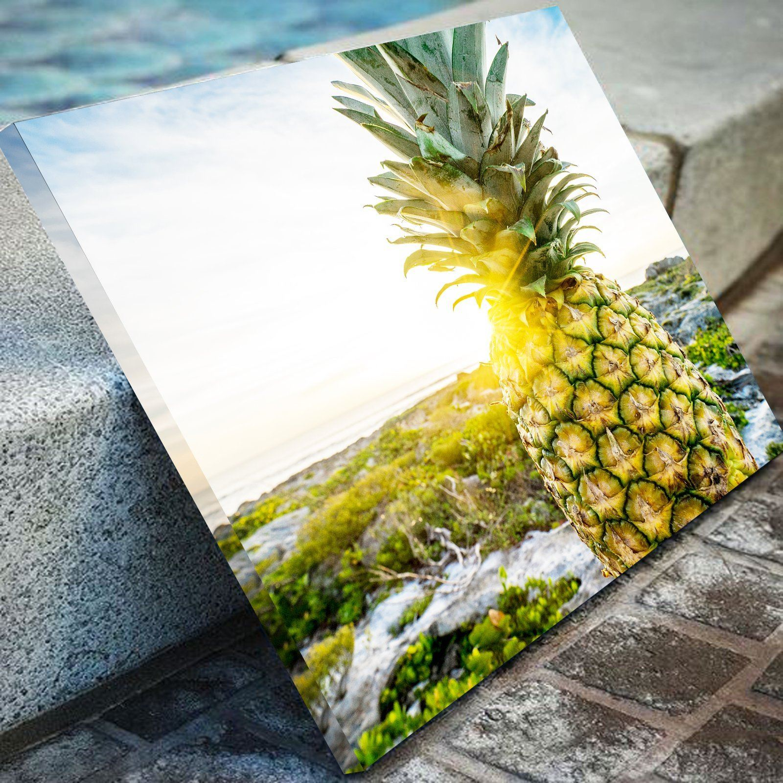 Pineapple Sunset Kitchen and Dining Room Wall Decor Canvas Set ...