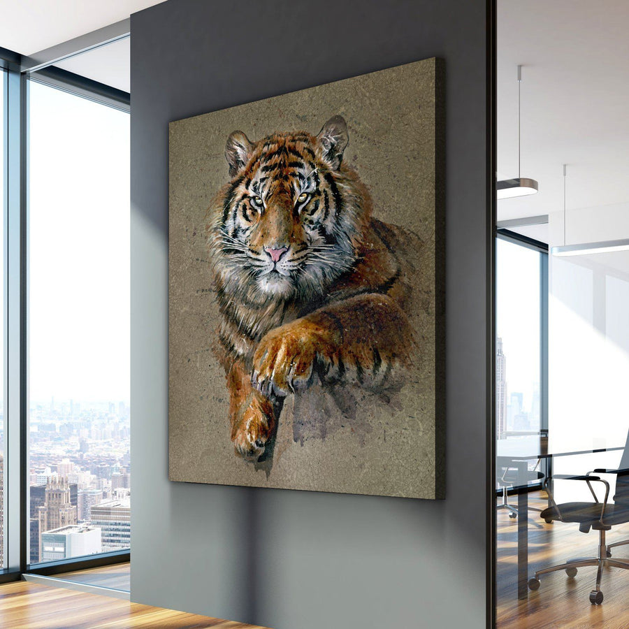 Rustic Tiger Painting Canvas Set