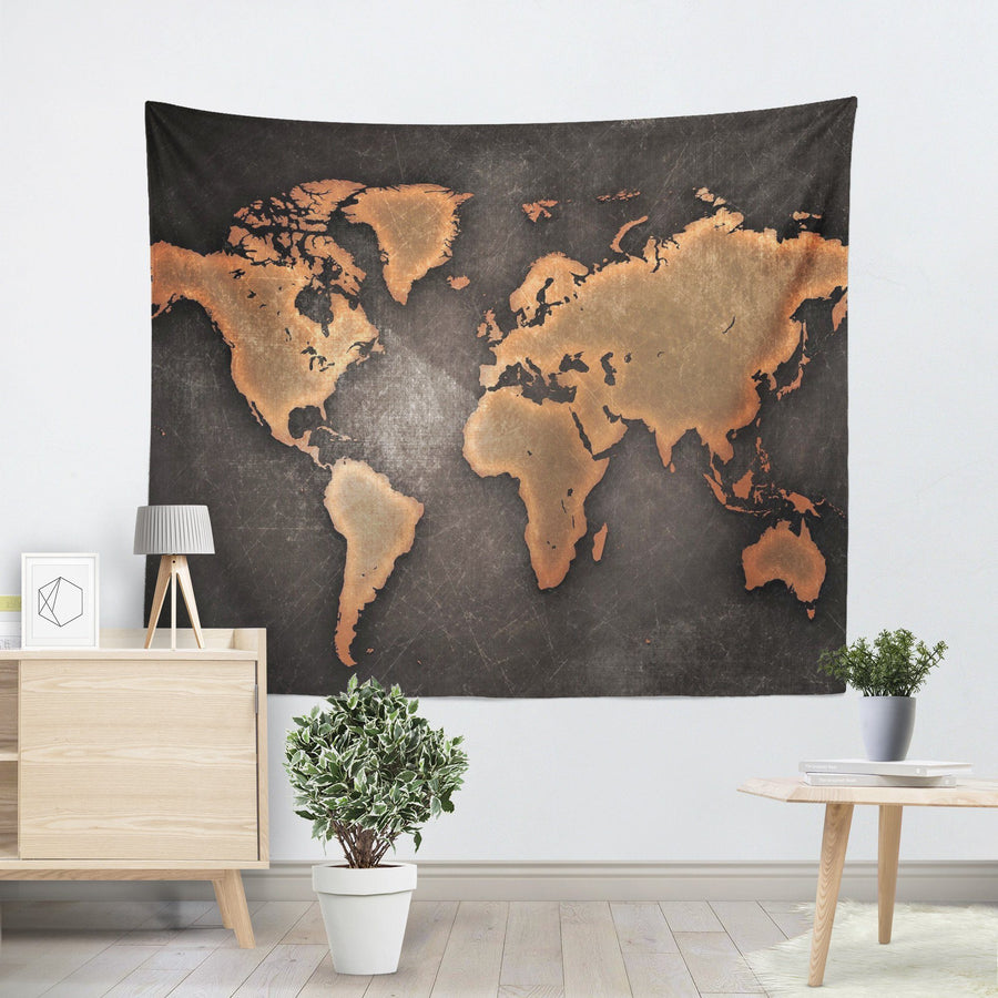 World map canvas wall art canvas freaks rustic world map tapestry gumiabroncs Choice Image