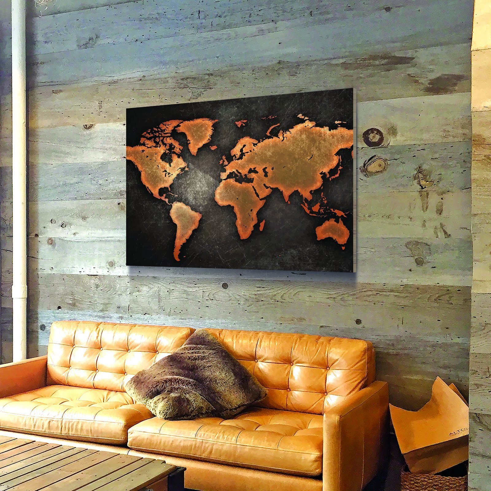 Rustic World Map Wooden Wall Decor Canvas Freaks