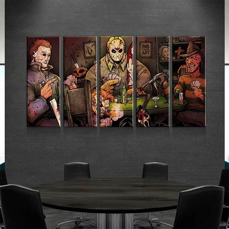 Slashers Playing Poker Canvas Set