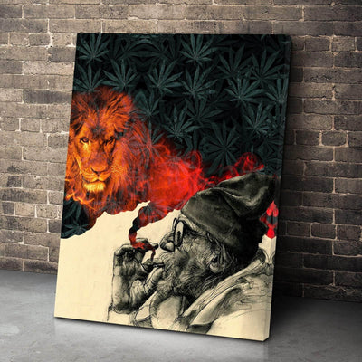 Smoke and Lion Vertical Canvas Set
