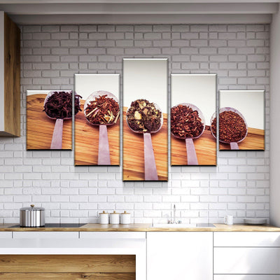Spoons on Wood Kitchen and Dining Room Wall Decor Canvas Set