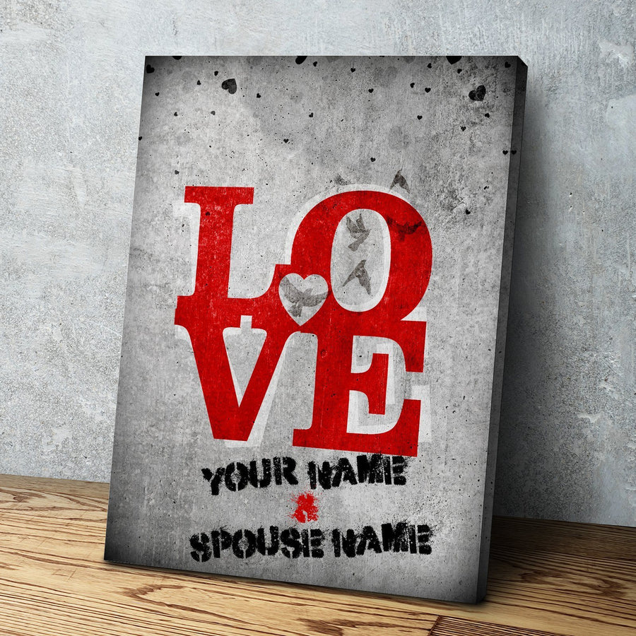 Custom Personalized Stencil of Love Canvas Set