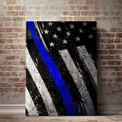 Thin Blue Line Represent Canvas Set