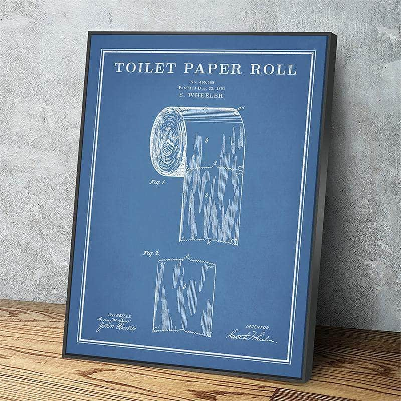 Toilet Paper Roll Patent Print | Canvas Set