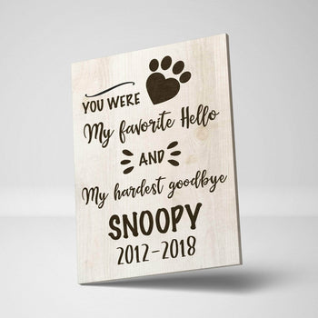 Hardest Goodbye Pet Custom Canvas Set