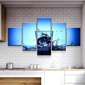 Water Cup Splash Kitchen and Dining Room Wall Decor Canvas Set