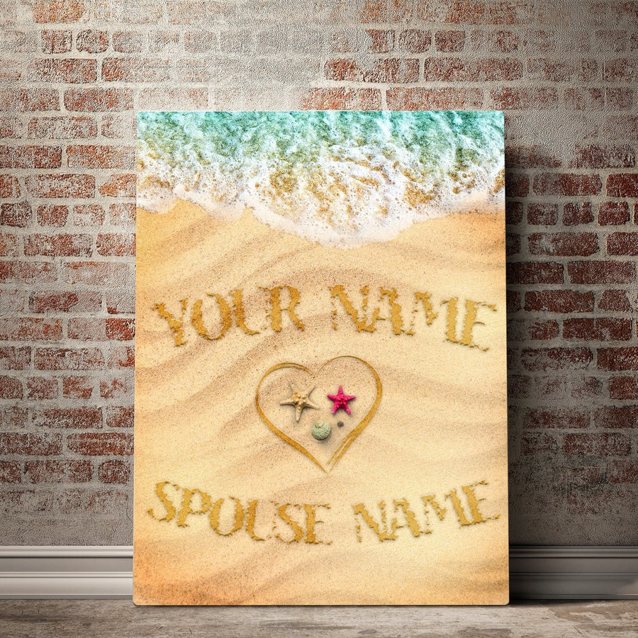 Custom Personalized Waves of Love Canvas Set