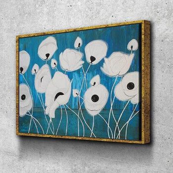 White Poppies Canvas Set