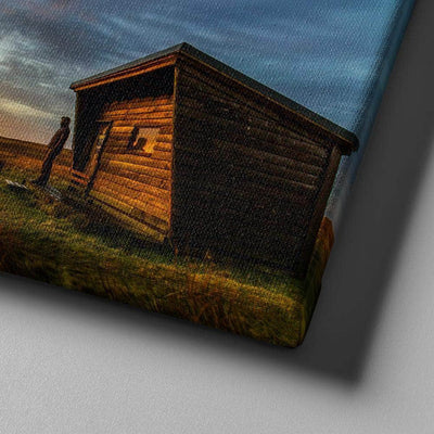 Wood Cabin Sunrise Canvas Set