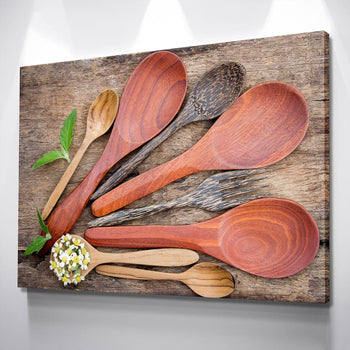 Wooden Spoons Kitchen and Dining Room Wall Decor Canvas Set