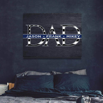 Father's Day Thin Blue Line Custom Canvas Set