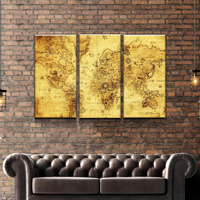 World Map No13 Canvas Set