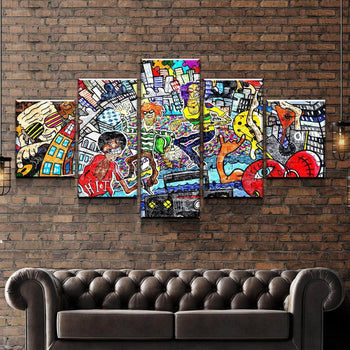 Music Vibes Graffiti Canvas Set