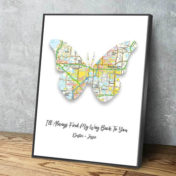 Butterfly Map Custom Canvas Set