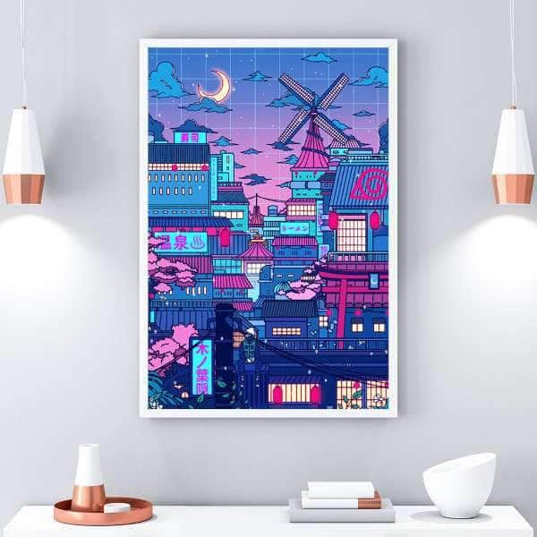 Cyberpunk Village Canvas Set