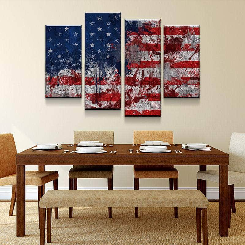 Modern American Flag Canvas Set
