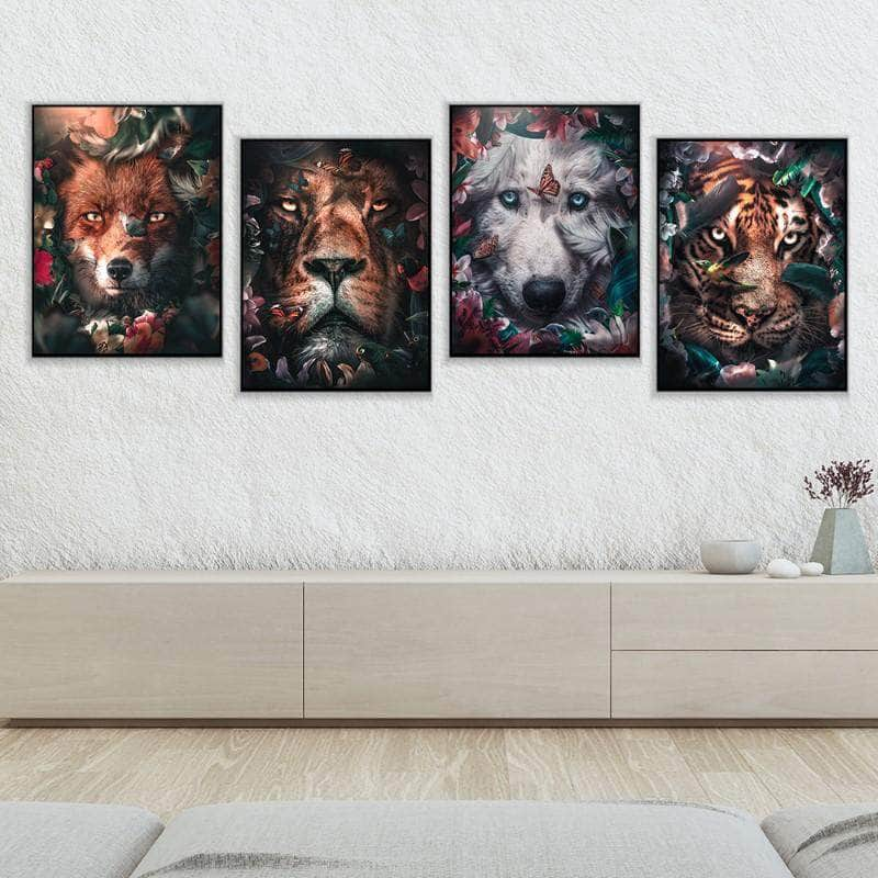 Floral Wildlife 4 Piece Bundle Canvas Set