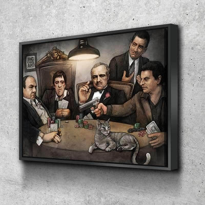 Gangsters Playing Poker Canvas Set