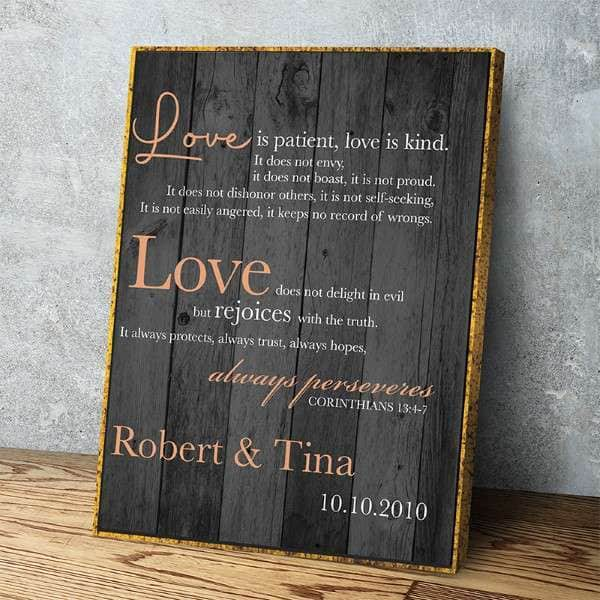 Love Is Patient Custom Canvas Set