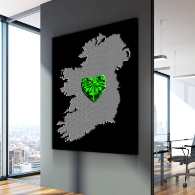 Ireland Green Heart Canvas