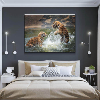Tigers Playing in Water Canvas Set