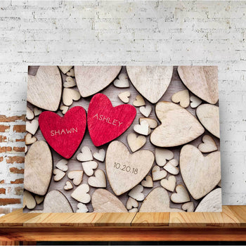 Wooden Hearts Custom Canvas Set