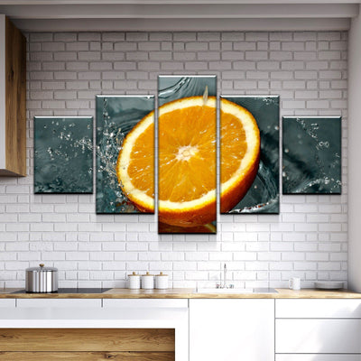Orange in the Water Kitchen and Dining Room Wall Decor Canvas Set