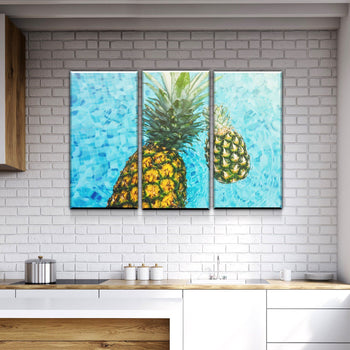 Pineapple in the Water Kitchen and Dining Room Wall Decor Canvas Set
