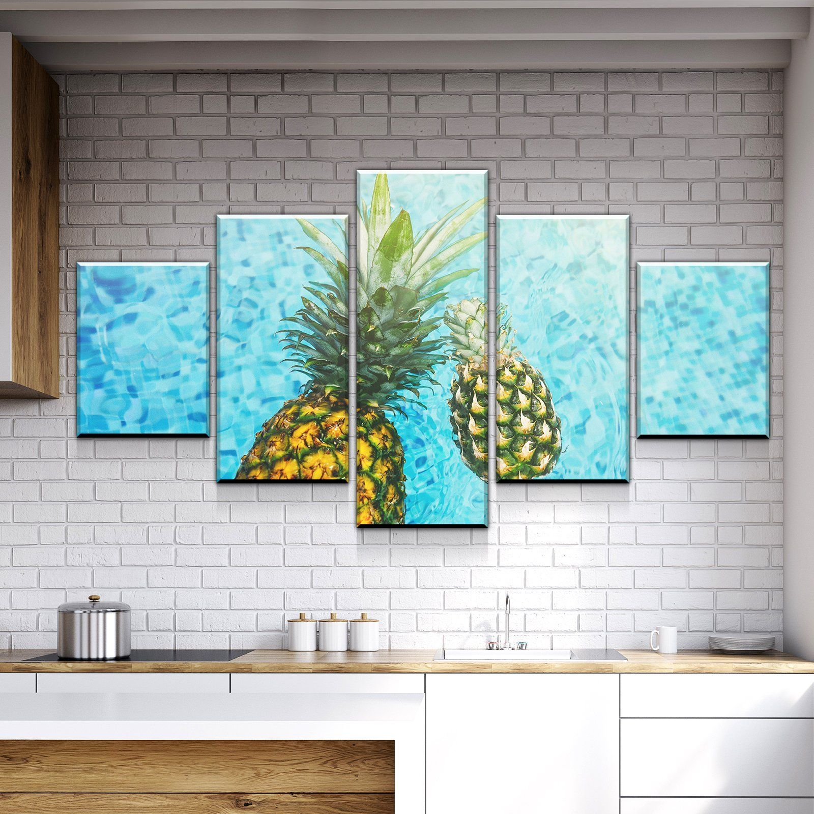 Pineapple in the Water Kitchen and Dining Room Wall Decor Canvas Set ...