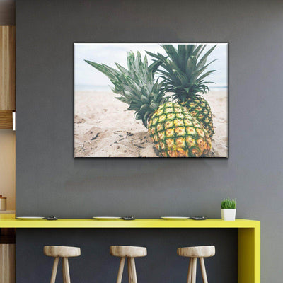 Pineapples in the Beach Kitchen and Dining Room Wall Decor Canvas Set