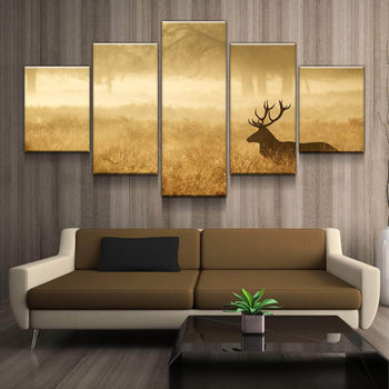 Red Deer Silhouette Canvas Set