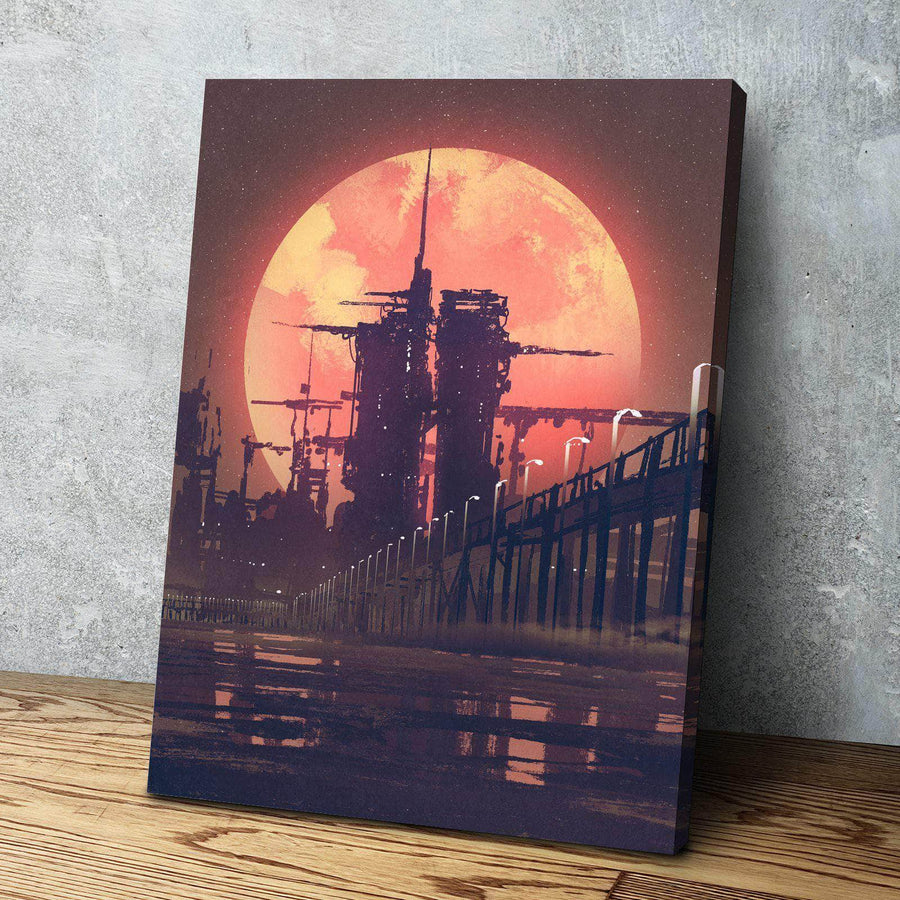 Red Moon Rise Canvas Set