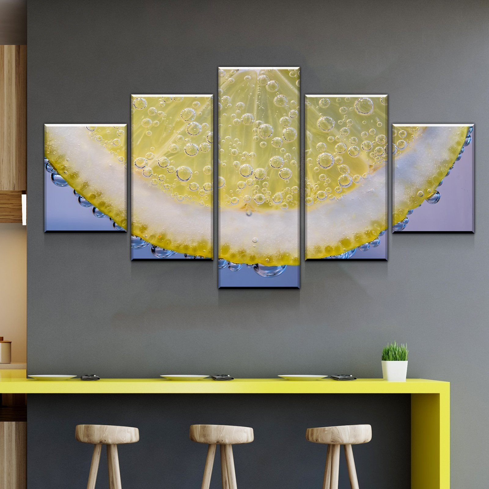 Slice of Lemon Kitchen and Dining Room Wall Decor Canvas Set ...