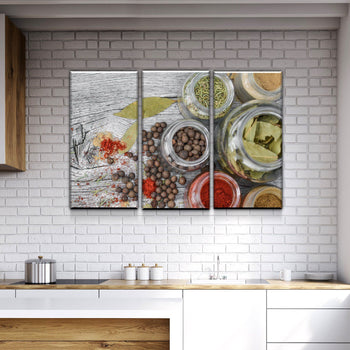 Spices on Wood Kitchen and Dining Room Wall Decor Canvas Set