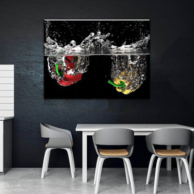 Splashing Fruit Kitchen and Dining Room Wall Decor Canvas Set