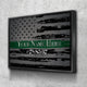 Custom Personalized Thin Green Line Canvas Set