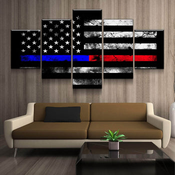 Thin Blue and Red Line Canvas Set