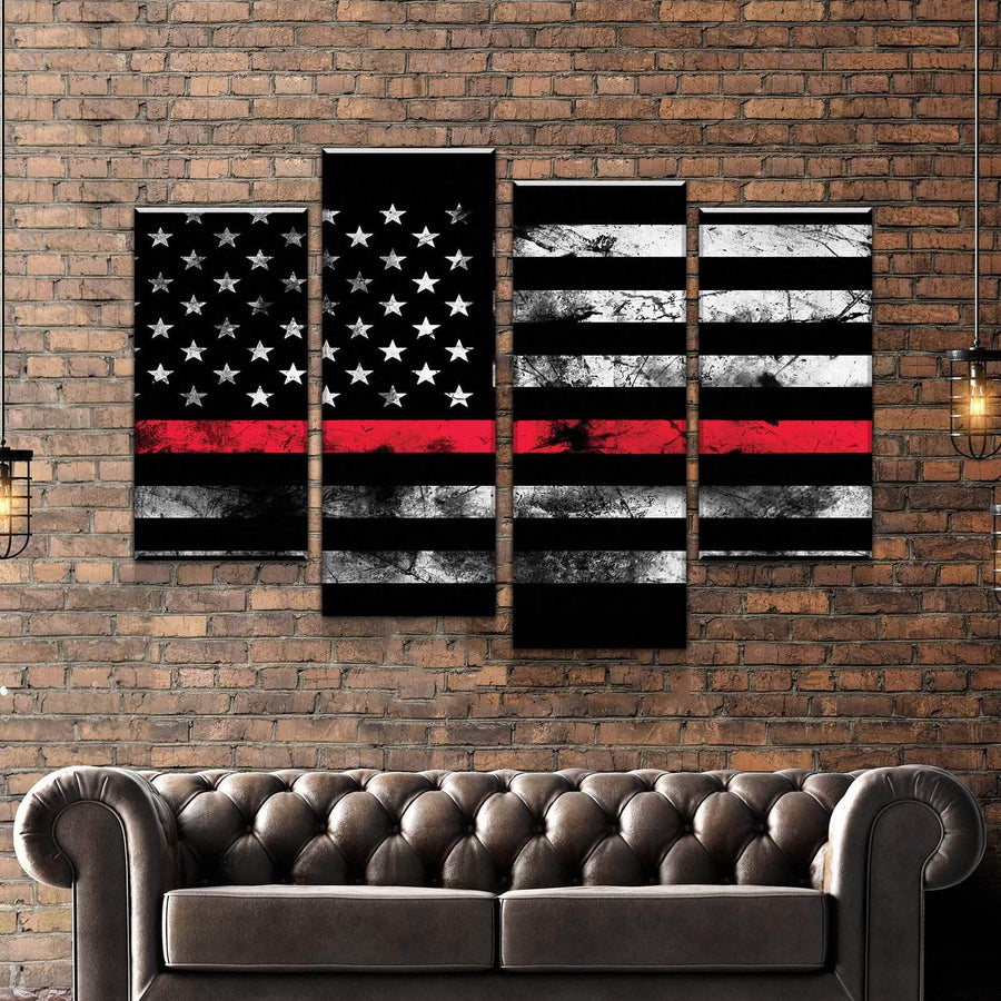 Thin Red Line Canvas Set